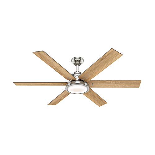 "Hunter Warrant Indoor Ceiling Fan with LED Light, 60"", Brushed Nickel"