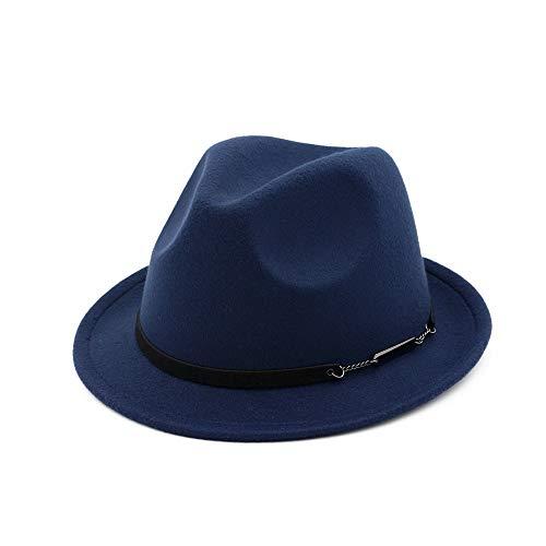 TX GIRL Chapeau en Feutre de Laine Fedora Hommes Femmes Outdoor Casual Chapeau de Mariage Bibi Chapeau de fête Chapeau (Color : Drak Blue, Size : 56-58)