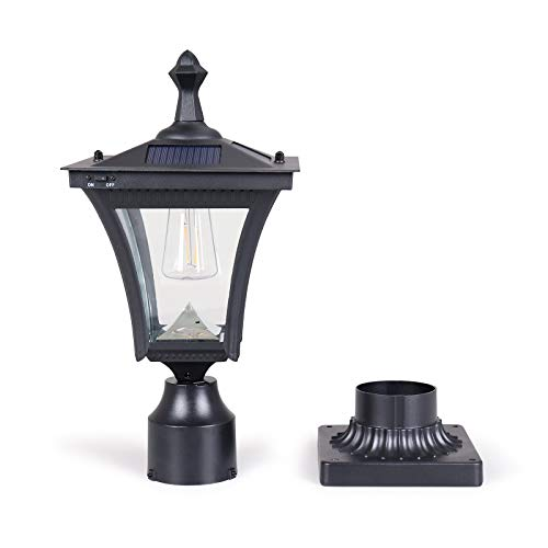 KMC LIGHTING ST4212Q Solar Post Light 7.48X7.48X16.46 inches, 2pcs Filament LED with Die-Casting Aluminum 3-inch Fitter Base for Outdoor Garden Post Pole Mount