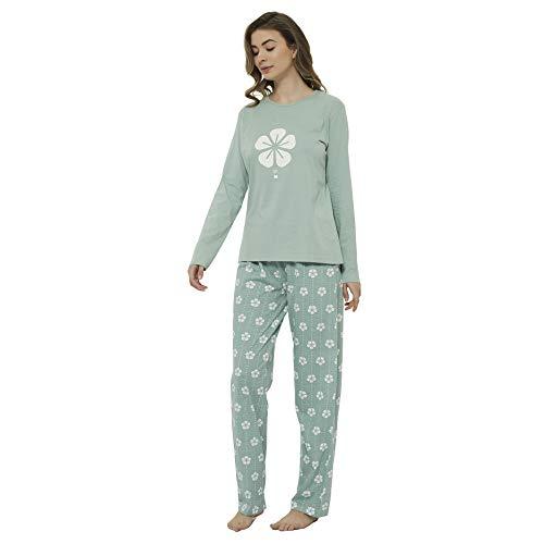 PimpamTex – Pijama de Mujer Invierno Algodón de Otoño-Invierno Camiseta Manga Larga y Pantalón Largo Estampados de Tacto Suave (XL, Trébol Verde)