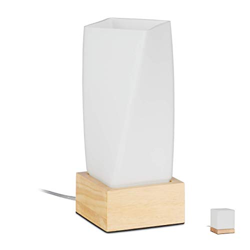 Relaxdays Tischlampe Prisma, Wohn- & Schlafzimmer, Holz & Milchglas, E14 Nachttischlampe, 24 x 10 x 10 cm, weiß/natur