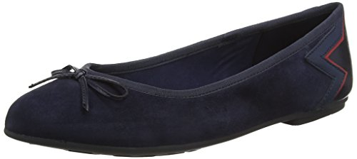 Tommy Hilfiger Damen Elevated Suede Ballerina Geschlossene Ballerinas, Blau (Tommy Navy 406), 38 EU