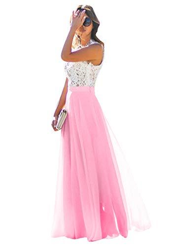 OMZIN Damen Spitze Kleid Blumen Chiffon Kleid Party Lang Kleid für Damen Fuchsia XS