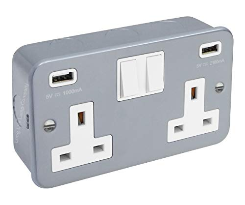 13 Amp Metal Clad Socket 2 Gang Switched Socket 250v with Dual USB Charger