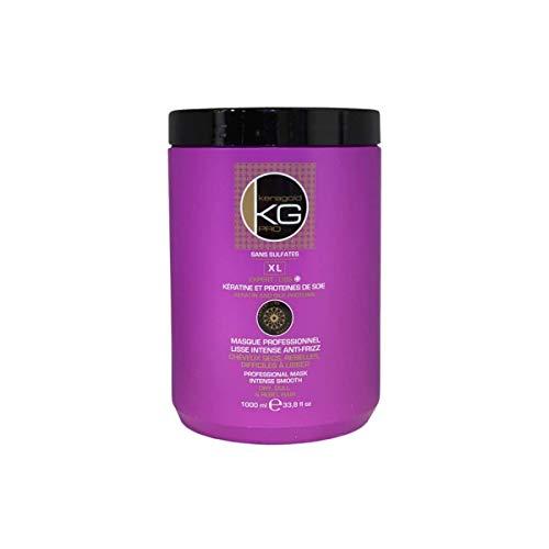 KERAGOLD PRO Masque pour Cheveux Secs/Rebelles/Difficiles à Lisser à la Keratine/Protéines de Soie, 1000 ml