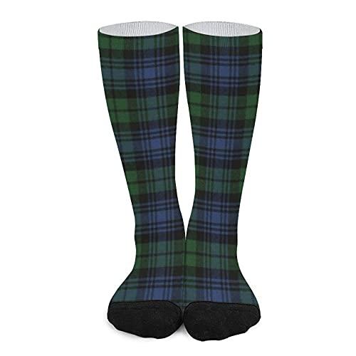 Calcetines deportivos unisex novedad alta comodidad transpirable atlético casual largo tubo medias - reloj negro antiguo original escocesa Tartan