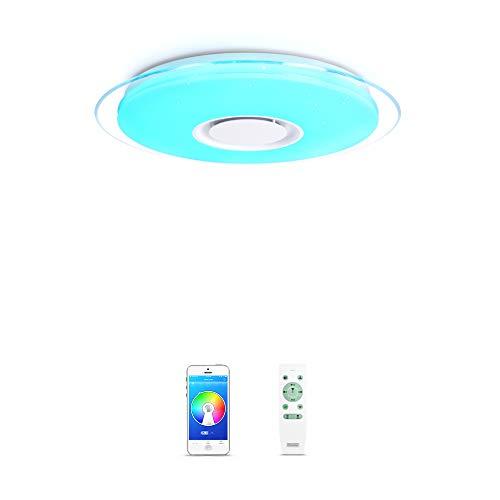 OFFDARKS - Plafóns LED Lámparas de Techo con Altavoz Bluetooth, APP Mando a Distanci + brillo ajustable + color change (A - 36W ⌀450MM Redondo)