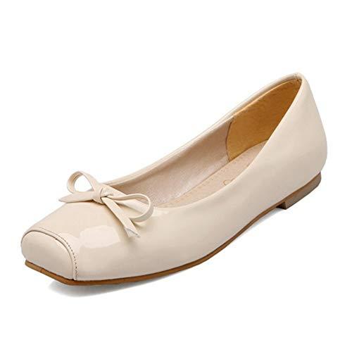 Smilice Damen Klassischer Ballerinas Square Toe Übergrößen Flache Schuhe mit Bogen (Beige, 48 EU)