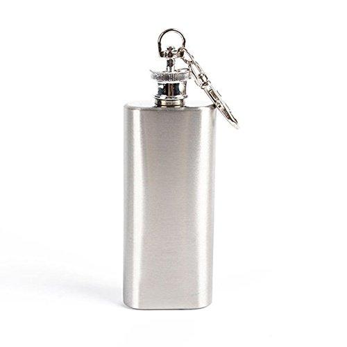 Zhouba - Fiaschetta per liquori in acciaio INOX, con tappo a vite, portatile, 56,7 g, colore: Argento