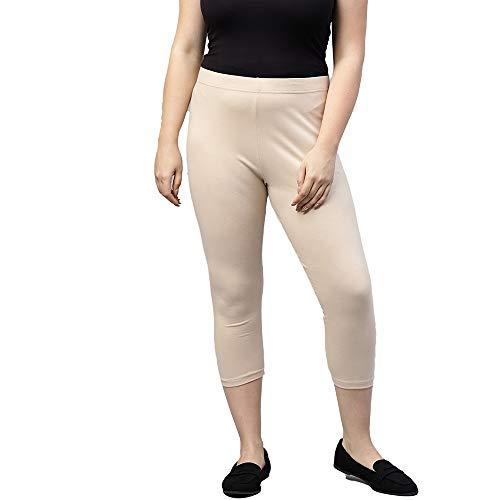 GO COLORS Women's Legging Fit : Slim Bottom (LLC-LT BEIGE46-3X_Light Beige_3XL)
