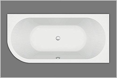 Baignoire en acrylique d'un côté arrondi à gauche - Blanc - 185 x 80 cm x 47 cm