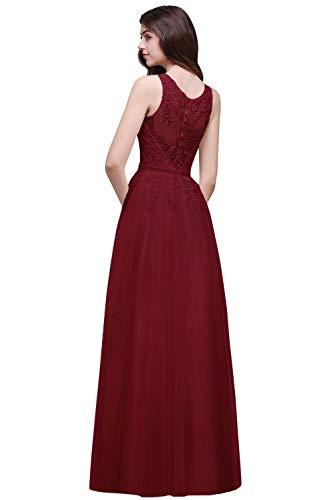 Babyonline® A Linie Abendkleider Hochwertig Burgundy Kleider für Mutter Brautkleider Partykleider Ballkleid Hochzeitskleid