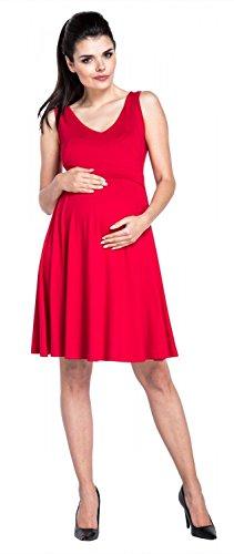 Zeta Ville – Stillen A-Linie Kleid Schwangere Tiefer V-Ausschnitt – Damen – 685c (Rot) - 4