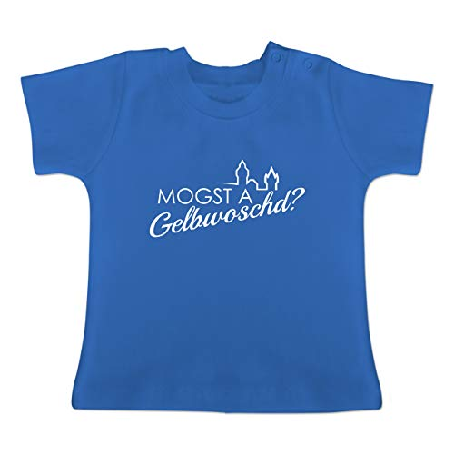 Städte - Mogsd a Gelbwoschd - Franken Hommage - 6/12 Monate - Royalblau - Baby Franken Shirt - BZ02 - Baby T-Shirt Kurzarm