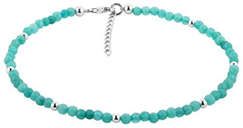 Nenalina 281001-004 - Cavigliera da donna in argento, stile boho, con perline turchesi e sfere in argento, lunghezza regolabile 23-27 cm, in argento Sterling 925