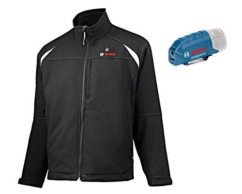 Bosch Professional Beheizbare Jacke GHJ 12+18V Unisex (ohne Akku, 12/18 Volt, Schwarz, Größe L, im Karton)