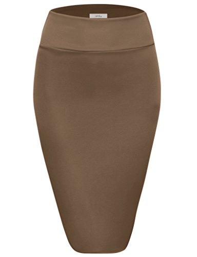 Scuba Pencil Skirt Midi Bodycon Skirt Below Knee Skirt, Office Skirt High Waist (Size Small, Mocha)