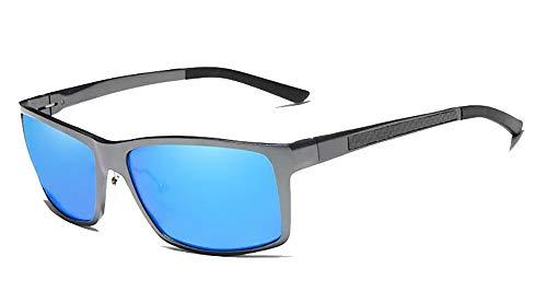 Kingseven Herren Sonnenbrille, verstellbar, rechteckig, polarisiert, UV400, ultraleicht, Al-Mg, (Pistole/Blau), Medium