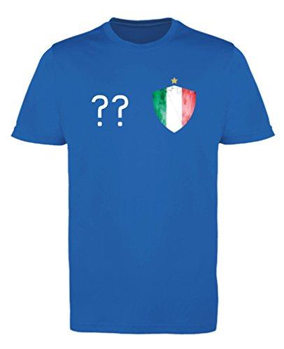 Comedy Shirts - Italien Trikot - Wappen: Klein - Wunsch - Mädchen Trikot - Royalblau/Weiss Gr. 98-104