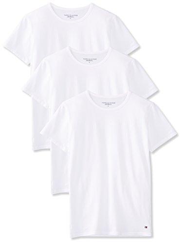 Tommy Hilfiger, Herren T-shirt, 3er Pack, Weiß (White 100), L (50)