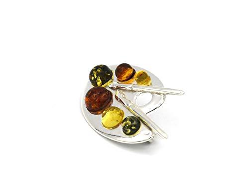 Broche de ámbar, joya para mujer, plata, chapado en oro, PMBER39