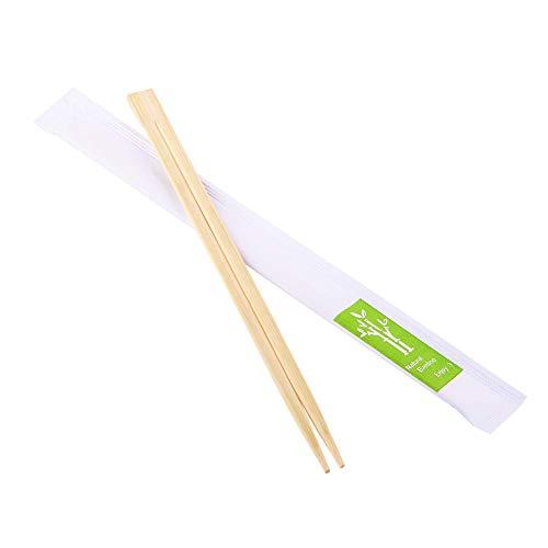 Confezione da 100 paia di bacchette in legno di bambù monouso confezionate singolarmente in carta (100)