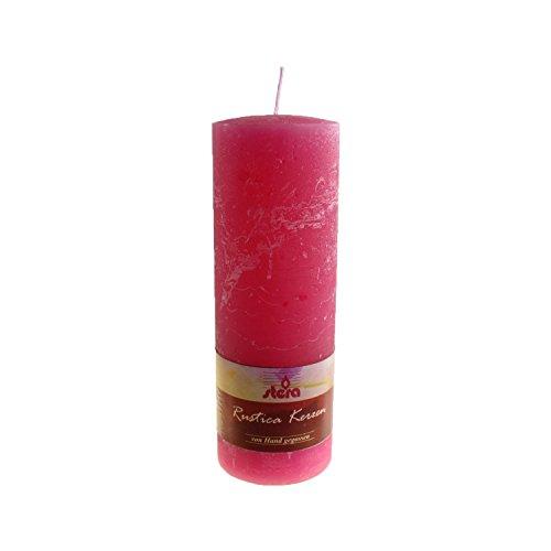 Kopschitz 17923.21.004.103 Bougie pilier Rustica pack de 4, coulée à la main, teintée dans la masse, utilisable en extérieur, excellente qualité, disponible en nombreuses couleurs et tailles, coloris rose, 20cm de haut Ø 7cm