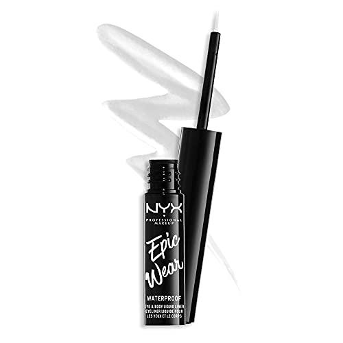 NYX Professional Makeup Epic Wear Semi-Permanent Liquid Liner, Langlebig, Wasserfest, Eyeliner und Body Art für Gesicht und Körper, Mattes Finish, Farbe: Weiß