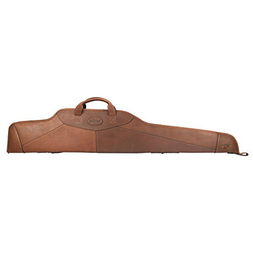 TOURBON Vintage Genuine Leather Scoped Rifle Case 50' Gun Slip Bag - Brown