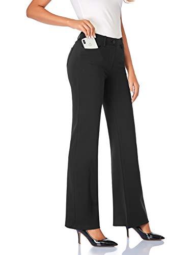 Tapata Donna 86cm Pantaloni Bootcut Elasticizzati con Tasche, Tall/Regolare/Pettie per Ufficio Affari Casual Nero XL