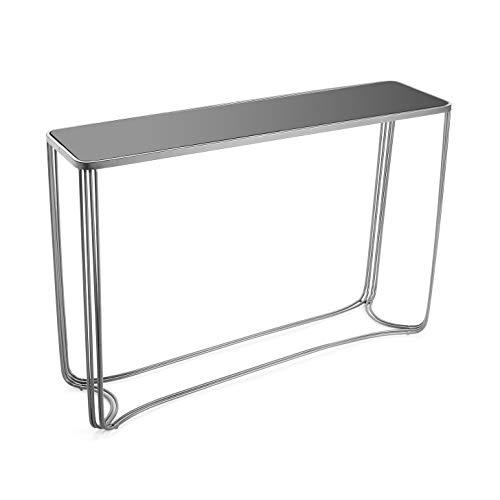Versa 10850095 Mesa de Entrada Artur, Metal y Cristal, Plateado, 75 x 31 x 110 cm