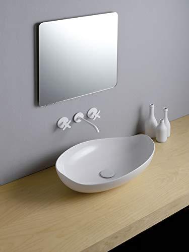 Leonardo Bagno Poison Waschbecken Badmöbel Oval ohne Bohren Rubinetto_60_x_38,5_cm
