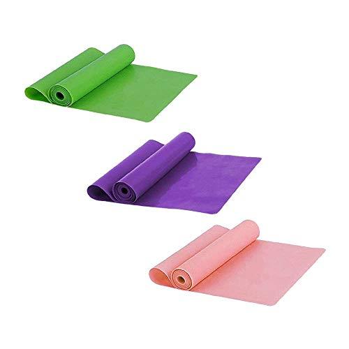 XJF Banda de resistencia elástica de 1,5 m de goma elástica para yoga, ejercicio, fitness, cinturón de color al azar, 3 unidades