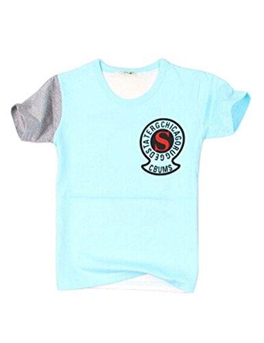 Mode T-shirt à manches courtes pour homme T-shirt pour garçon - Bleu - Taille Unique