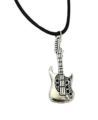 Collar de guitarra eléctrica con colgante de plata, cordón negro, regalo para...