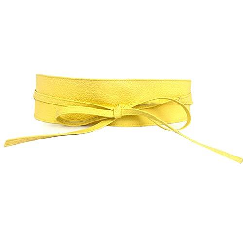 Cinturón Ancho amarillo Elástico para Mujer