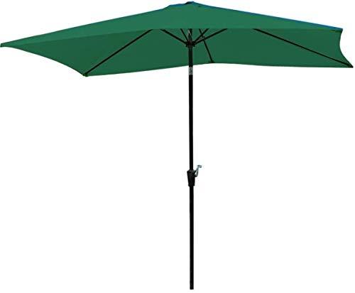 Garden Parasol Parasol, 2 * 3m Jardín Parasol Cortina de Sun del Patio al Aire Libre con botón de inclinación y Crank (Color : Green)