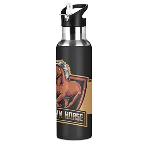 Mnsruu Arte Cavallo Striscia Animale Borraccia Termica con Cannuccia Sportiva, Bottiglia Acqua in Acciaio Inox Isolato 600ML Senza BPA per Bevande Calde e Fredde per Bambini Scuola