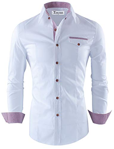 Tom's Ware Mens Premium Casual Inner Contrast Dress Shirt TWNMS310S-1-312-WHITE-M