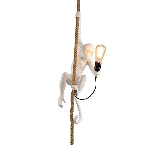 Araña personalidad creativa bar restaurante niños lámparas de color cáñamo cuerda mono
