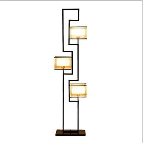 ZCYY lámpara de pie, lámpara de pie, lámpara de pie de Brazo de Madera China clásica con luz de Suelo y Pantalla de Tela para Sala de Estar, Dormitorio, Ahorro de energía, la Mejor Deco