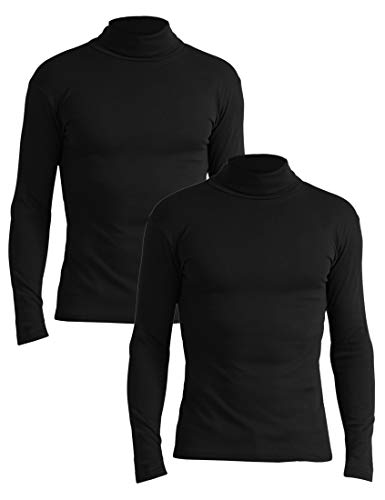 Lower East Herren Slim Fit Rollkragen Rollkragenpullover,Schwarz (Schwarz - 2er Pack),Large