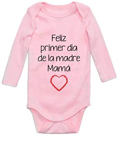 Body de Manga Larga para bebé - Feliz Primer Día de la Madre - para Mamá en su Día 6M Rosa
