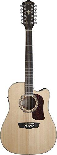 Washburn Guitarra acústica HD10SCE12 Heritage 10 Series Cutaway de 12 cuerdas, natural