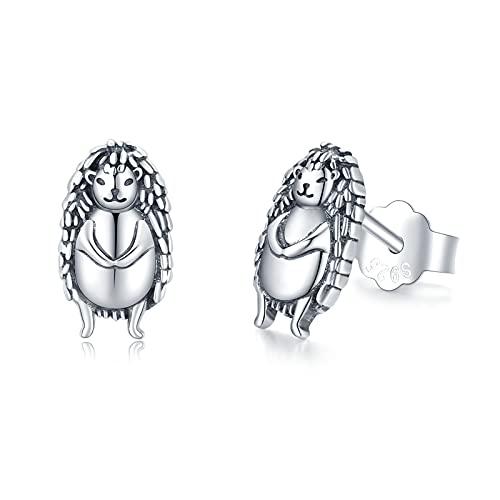 Boucles d'oreilles hérisson en argent sterling 925 mignon animaux goujons bijoux hérisson cadeaux de noël pour femmes filles