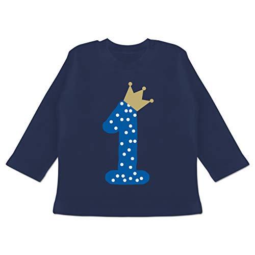 Geburtstag Baby - 1. Geburtstag Krone Junge Erster - 12/18 Monate - Navy Blau - Baby 1. Geburtstag Junge - BZ11 - Baby T-Shirt Langarm
