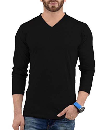 Black Long Sleeve V Neck T Shirt Men | LGS Vneck Plain, XL