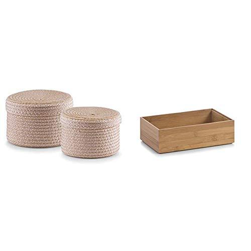 Zeller 14123 Korb-Set mit Deckel, 2-teilig, rund, PP, ø 16 x 10, ø 17 x 12 cm, natur & 13332 Ordnungsbox 23 x 15 x 7 cm, Bamboo