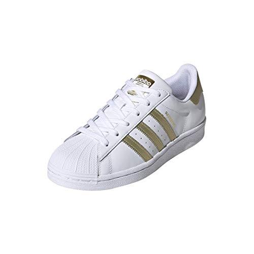 adidas Originals Women's Superstar Shoes Sneaker, White/Gold Metallic/White, 8