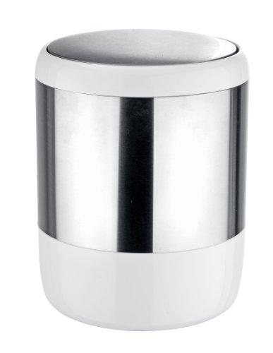 WENKO Cubo con tapa basculantel Loft - con tapa basculante Capacidad: 6 l, Acero inoxidable, 19.5 x 25.5 x 19.5 cm, Satinado
